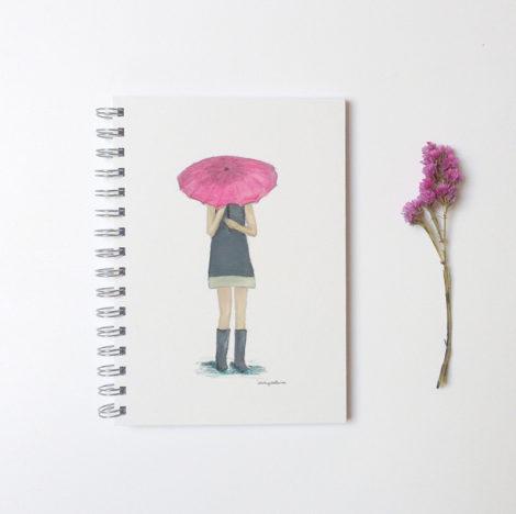 cuaderno chica paraguas