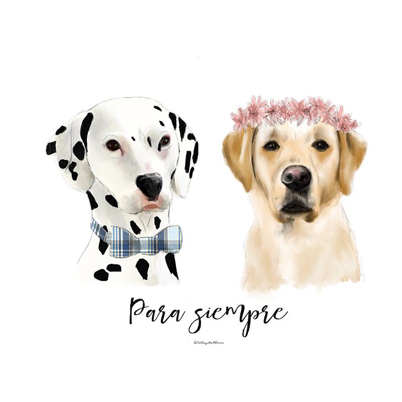 retrato de dos mascotas personalizados con una pajarita y una corona de flores