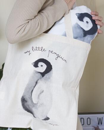 tote bag o bolsa de algodón bebé pingüino