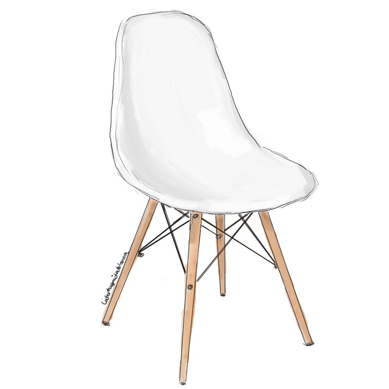 Plastic Chair EAMES DSW illustrated by La Tortuguita Blanca