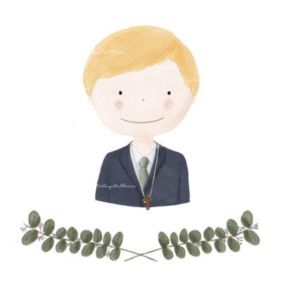 Modelo comunion niño colección HUGO. Puedes elegir el color de pelo, el color de la corbata, cruz y adorno
