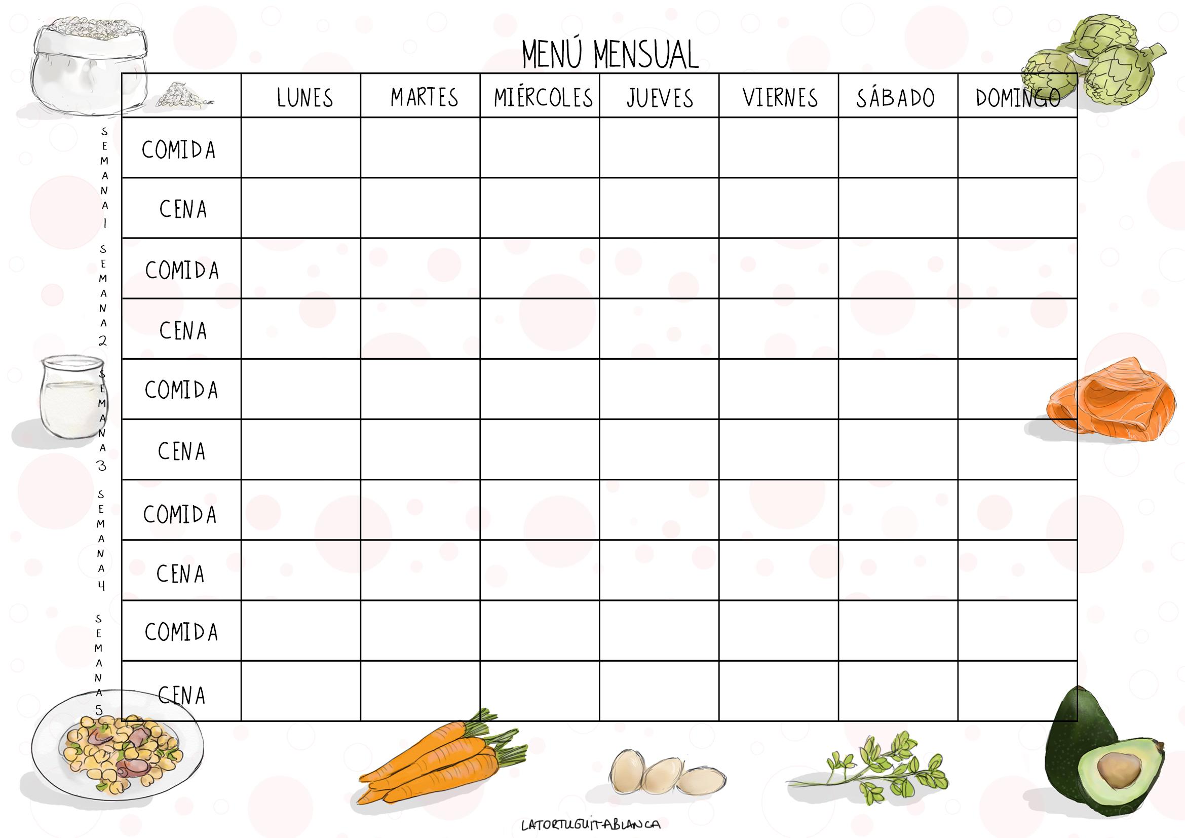 Plantilla menú mensual La Tortuguita Blanca