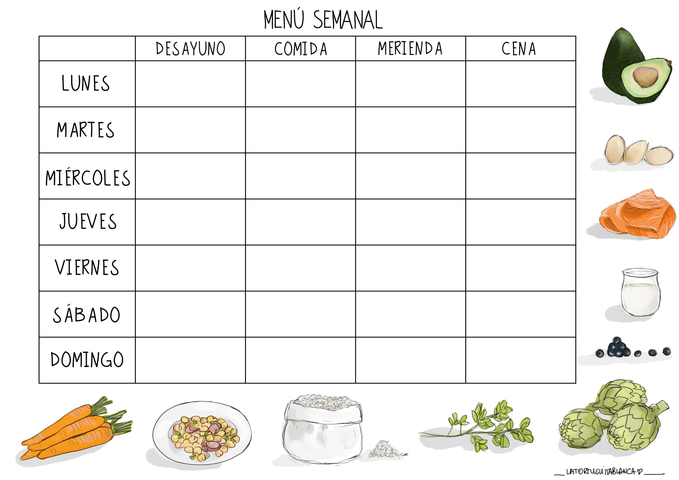 Plantilla menú semanal La Tortuguita Blanca