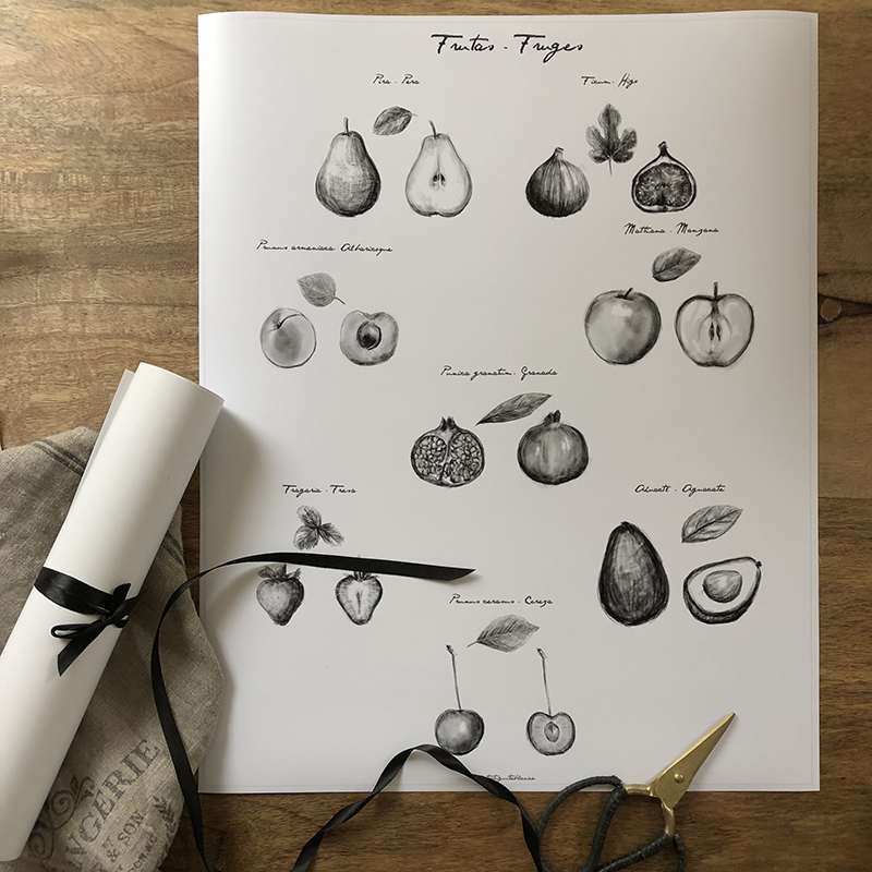 lamina composicion frutas