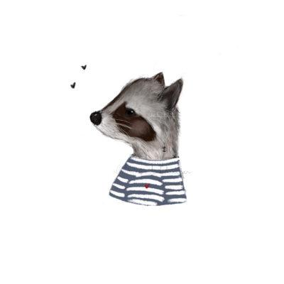 Baby mapache marinero