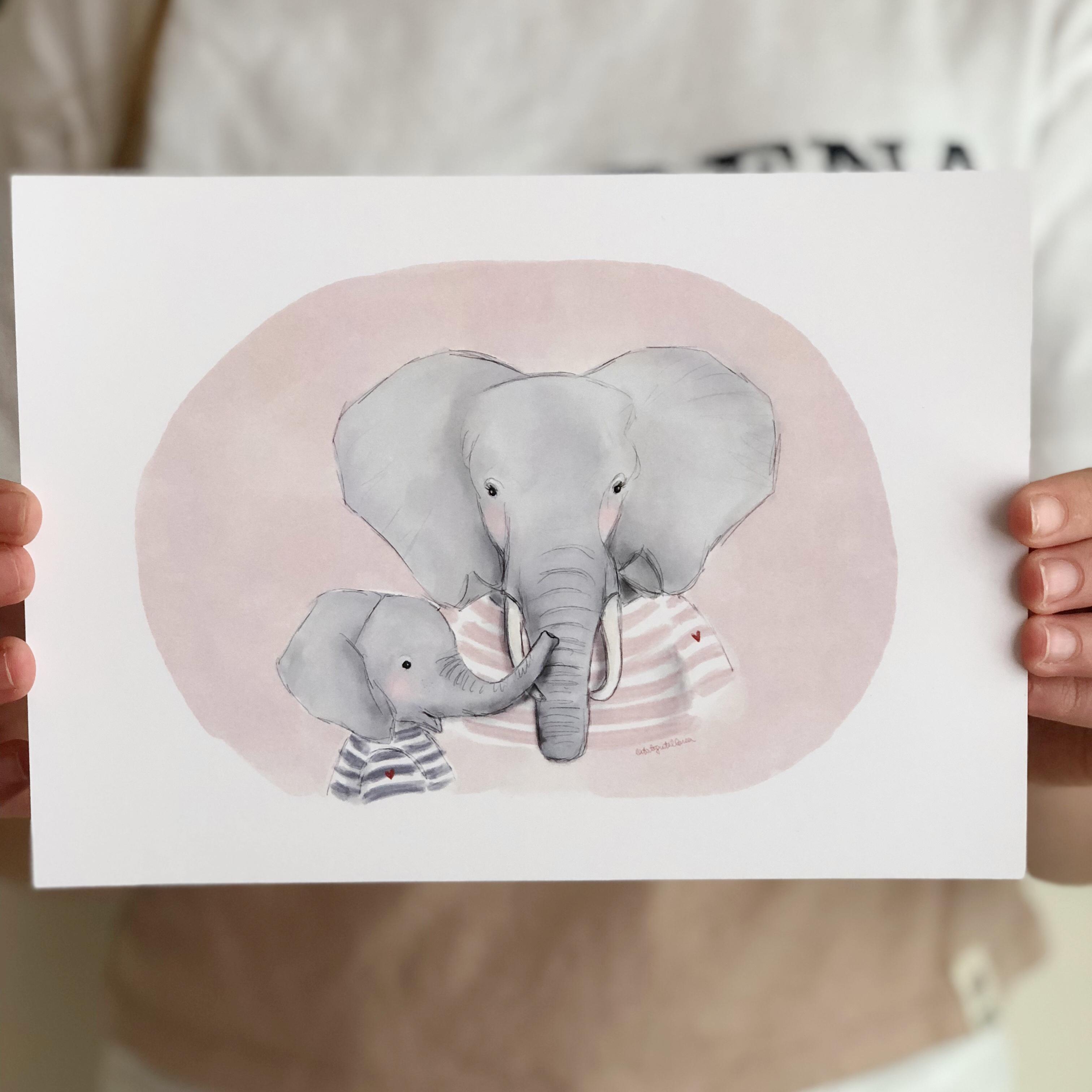 mamá elefante y elefantito