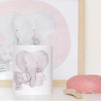 taza mama elefante y elefantito