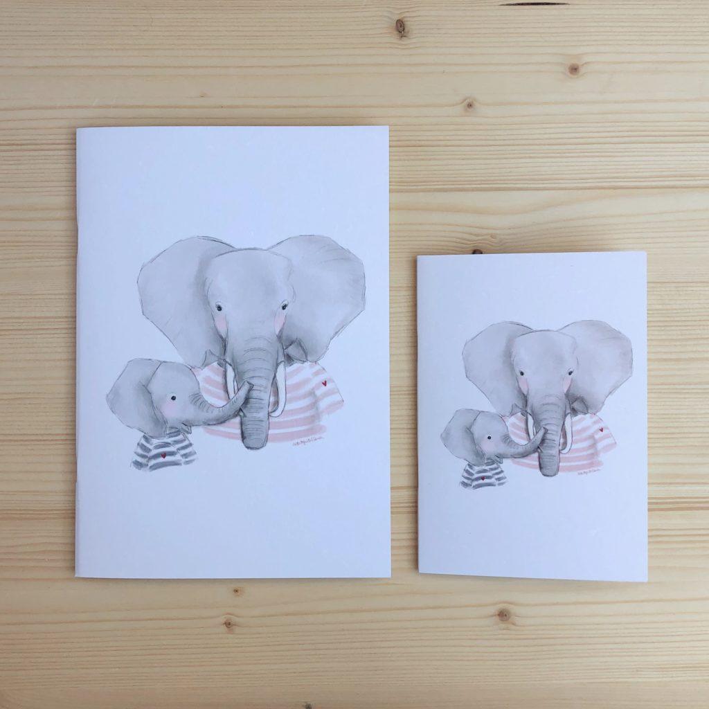 libreta mamá elefante y elefantito marineros