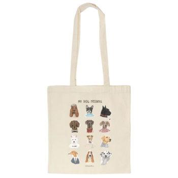 Tote bag o bolsa de algodón orgánico con ilustración MY DOG FRIENDS , original de La Tortuguita Blanca