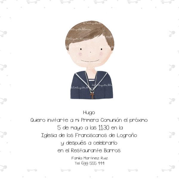 Invitaciones Primera Comunión Niño Colección Hugo