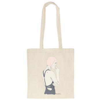 Tote bag o bolsa de algodón orgánico con ilustración NADADORA, original de La Tortuguita Blanca