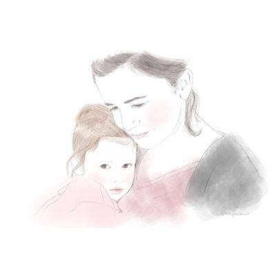 retrato clásico. Madre e hija.