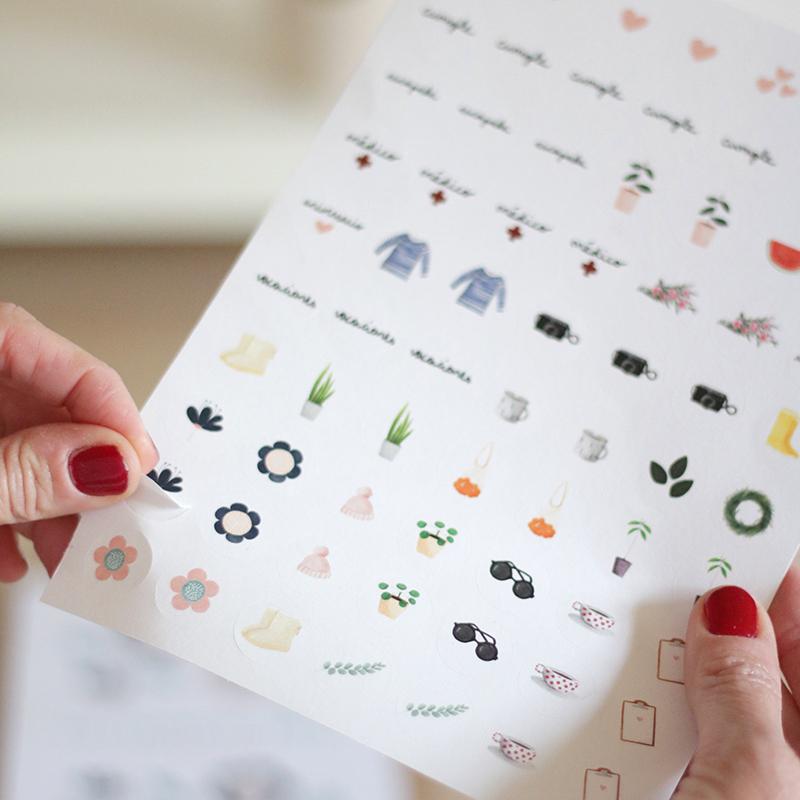 pegatinas. 70 pegatinas ideales para poner un toque de color a tu calendario, a tu agenda o bloc de notas