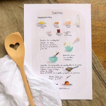 Una nueva versión ILUSTRADA de la RECETA de las TORTITAS. Una lámina ideal para decorar tu cocina y tener siempre a mano.