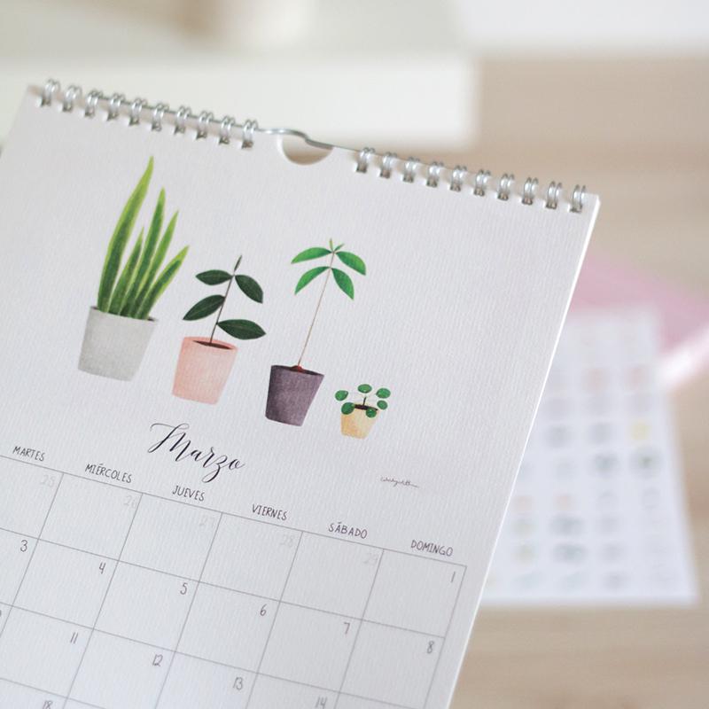Calendario de pared 2020. Espiral. Preciosas ilustraciones.