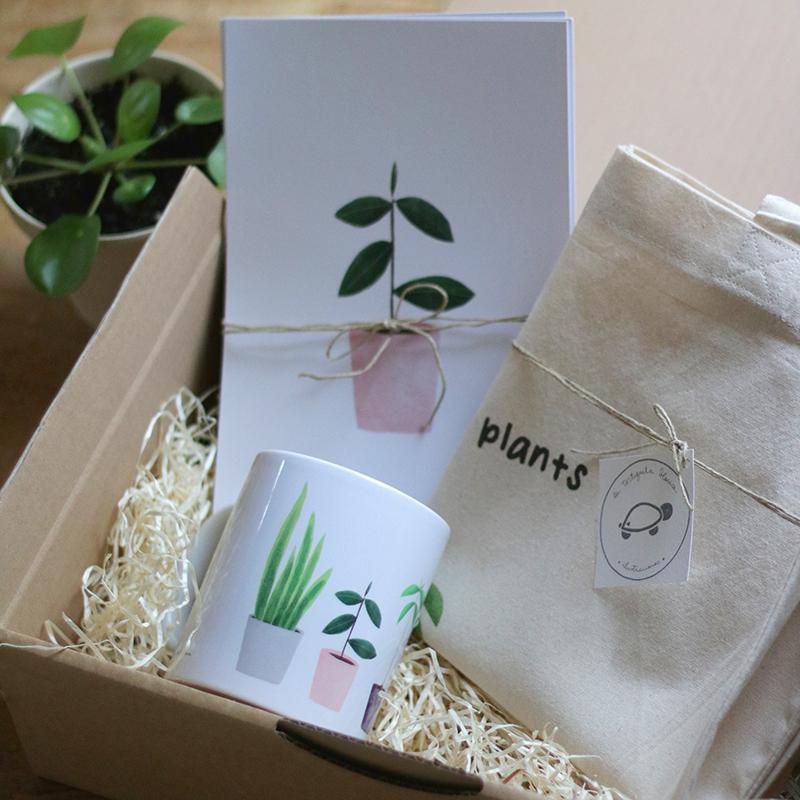 pack PLANT LOVER clásico: totebag, taza cerámica y pack de láminas My lovely plants