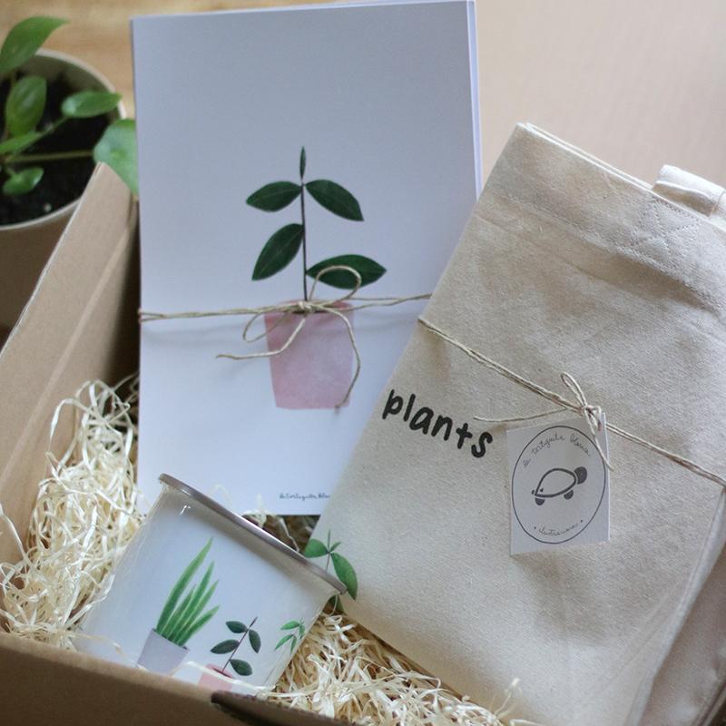 pack PLANT LOVER vintage plus: totebag, taza metal y pack de 4 láminas My lovely plants