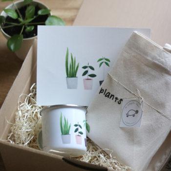 pack PLANT LOVER vintage: totebag, taza metal y lámina My lovely plants