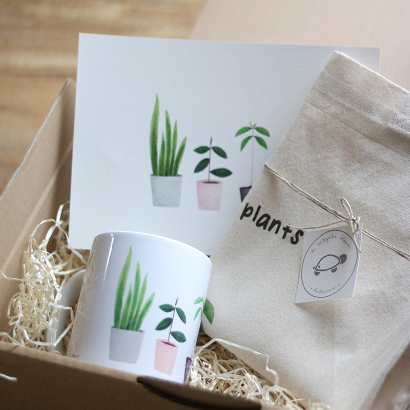 pack PLANT LOVER clásico: totebag, taza cerámica y lámina My lovely plants