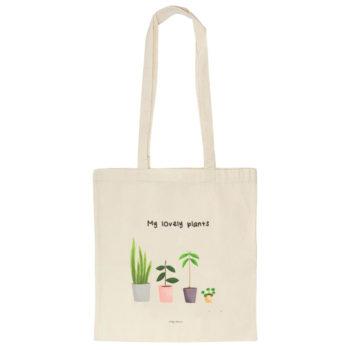 Tote bag o bolsa de algodón orgánico con ilustración MY LOVELY PLANTS, original de La Tortuguita Blanca