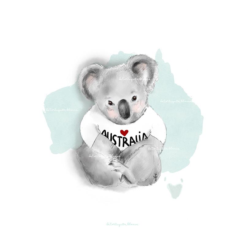 ilustración koala ayuda para Australia