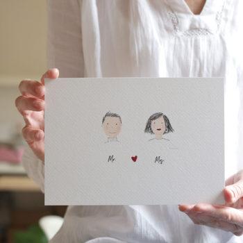 Lámina Mr. and Mrs. Ideal para NOVIOS, para regalar o acompañar un regalo. Personalizable.