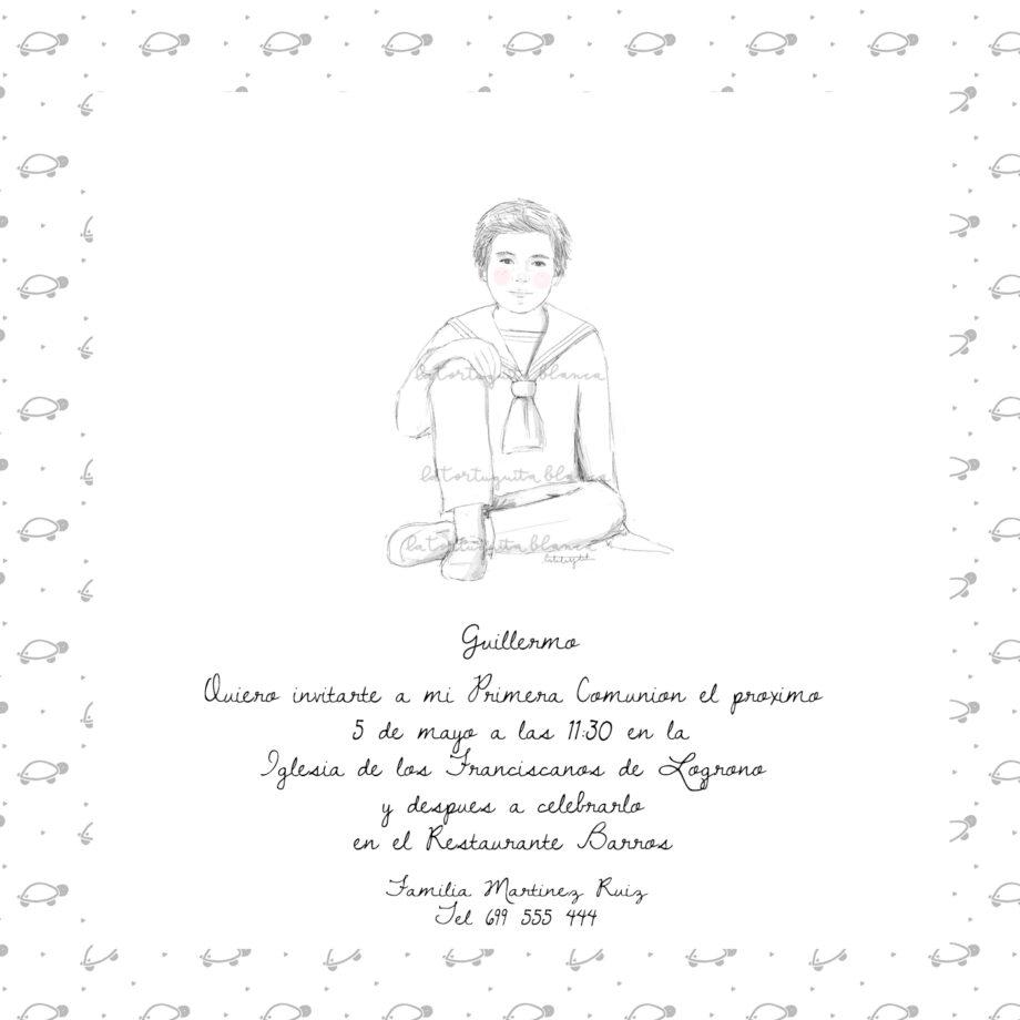 invitaciones primera comunión NIÑO. Colección GUILLERMO. Traje o marinero. Personalizable.