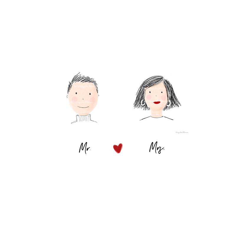 Lámina Mr. and Mrs. Ideal para NOVIOS, para regalar o acompañar un regalo. Personalizable.