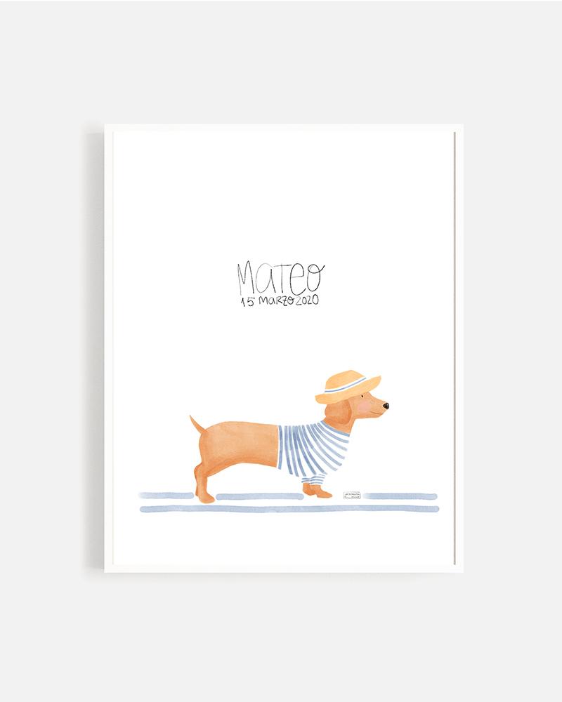 lámina perro salchicha personalizada