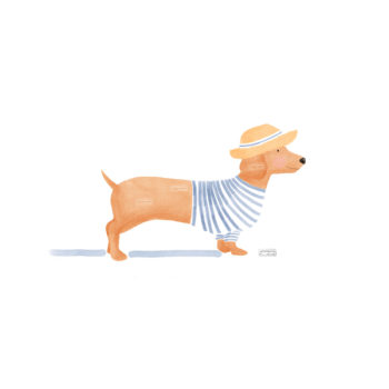 ilustración perro salchicha. Ideal para habitaciones infantiles