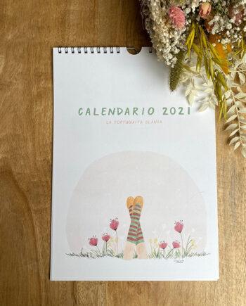 CALENDARIO 2021 de pared ilustrado. La Tortuguita Blanca