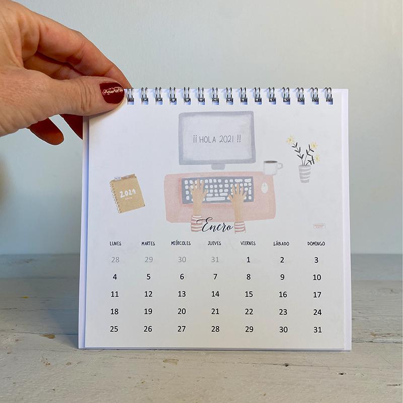 calendario de mesa 2021 con ilustraciones de la tortuguita blanca