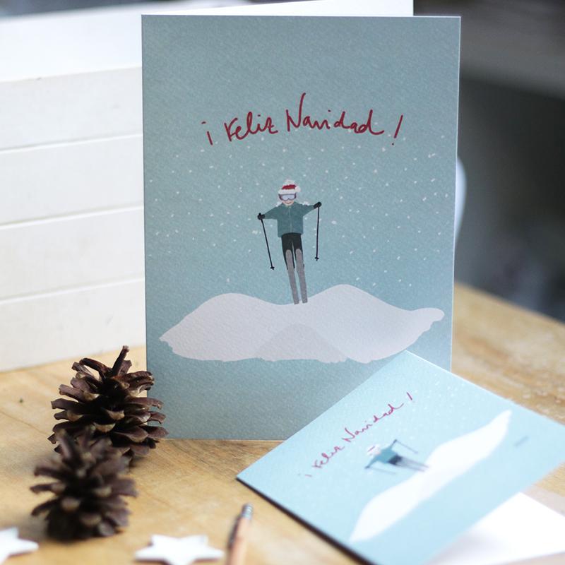 felicitación navideña esquiador