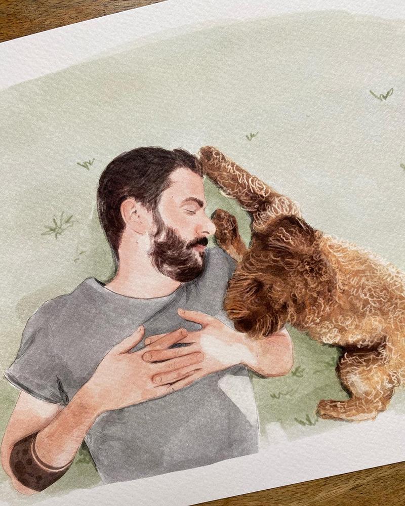 Retrato persona y mascota