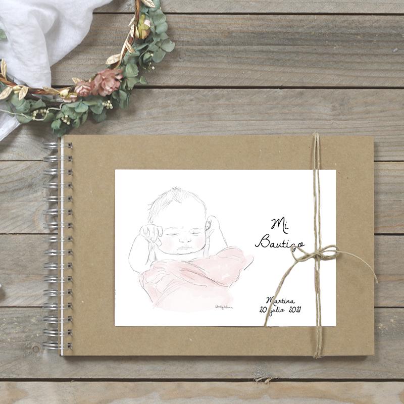 libro bautizo bebe fleur rosa
